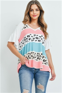 S8-14-3-PPT2298-PKMNTTPIV-1 - BELL SLEEVES MULTI-COLOR STRIPES LEOPARD PRINT TOP- PINK/MINT/TAUPE/IVORY 0-2-2-2
