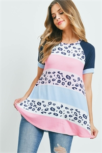 SA3-6-3-PPT2299-BLBPKLPKNV - MULTI-COLOR STRIPES LEOPARD PRINT TOP- BLUE/B PINK/L PINK/NAVY 1-2-2-2