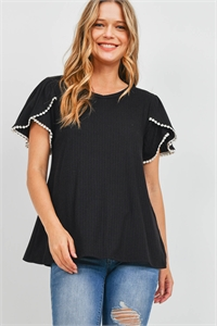 S11-18-2-PPT2300-BK - POMPOM DETAIL TULIP SLEEVE BRUSHED RIB TOP- BLACK 1-2-2-2