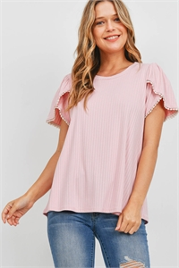 S11-19-2-PPT2300-BLS - POMPOM DETAIL TULIP SLEEVE BRUSHED RIB TOP- BLUSH 1-2-2-2