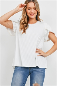 S15-7-4-PPT2300-IV-1 - POMPOM DETAIL TULIP SLEEVE BRUSHED RIB TOP- IVORY 0-1-2-2