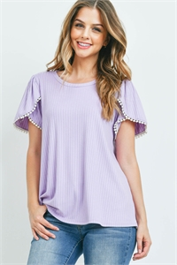 S14-12-3-PPT2300-LLC-1 - POMPOM DETAIL TULIP SLEEVE BRUSHED RIB TOP- LILAC 0-2-2-2