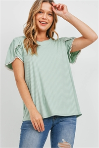 S11-19-2-PPT2300-SG - POMPOM DETAIL TULIP SLEEVE BRUSHED RIB TOP- SAGE 1-2-2-2