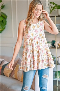 S9-20-2-PPT2301-IVORCRL-1 - FLORAL PRINT TIERED RUFFLE TANK TOP- IVORY/ORANGE/CORAL 0-2-1-1