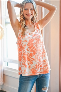 S10-11-4-PPT2305-ORG - TIE DYE RACERBACK TANK TOP- ORANGE 1-2-2-2