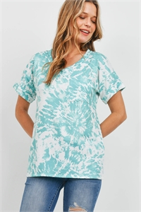 S12-1-4-PPT2306-MNT - TIE DYE V-NECK POCKET TOP- MINT 1-2-2-2