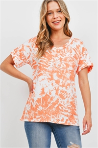 S9-13-3-PPT2306-OR-1 - TIE DYE V-NECK POCKET TOP- ORANGE 3-1-2-2