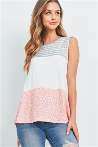 S9-20-1-PPT2309-HGIVCRL-1 - STRIPES PEBBLE CONTRAST SLEEVELESS TOP- HEATHER GREY/IVORY/CORAL 0-0-1-2