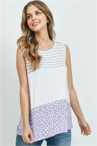 S15-1-4-PPT2309-HGIVLVD - STRIPES PEBBLE CONTRAST SLEEVELESS TOP- HEATHER GREY/IVORY/LAVENDER 1-2-2-2