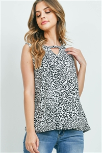S4-10-3-PPT2311-OFWTBK-1 - LEOPARD PRINT KEYHOLE SLEEVELESS TOP- OFF-WHITE/BLACK 0-2-2-2