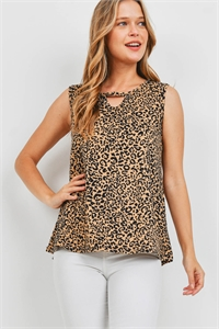 S16-3-2-PPT2311-TPBK - LEOPARD PRINT KEYHOLE SLEEVELESS TOP- TAUPE/BLACK 1-2-2-2