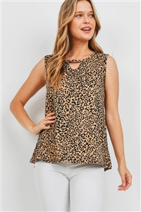 S4-10-3-PPT2311-TPBK-1 - LEOPARD PRINT KEYHOLE SLEEVELESS TOP- TAUPE/BLACK 0-2-2-2