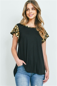 S10-15-3-PPT2323-BKCMLBK-1 - LEOPARD CAP SLEEVE TWO TONED SOLID TOP- BLACK/CAMEL/BLACK 0-2-2-1