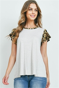 S10-15-3-PPT2323-SXOTMCMLBK-1 - LEOPARD CAP SLEEVE TWO TONED SOLID TOP- SEXY OATMEAL/CAMEL/BLACK 0-2-3-1