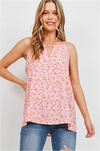 S16-2-3-PPT2327-PKMRWYLW - FLORAL SLEEVELESS KEYHOLE FLORAL TOP- PINK/MERROW/YELLOW 1-2-2-2