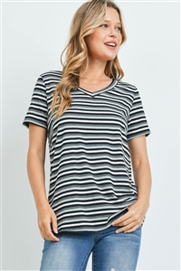 S6-8-1-PPT2329-BKGYCHL - RIB DETAIL V-NECK STRIPES TOP- BLACK/GREY/CHARCOAL 1-2-2-2