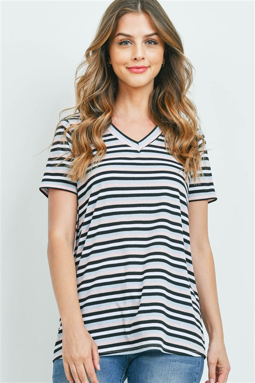 S10-4-3-PPT2329-BLPKBK - RIB DETAIL V-NECK STRIPES TOP- BLUE/PINK/BLACK 1-2-2-2