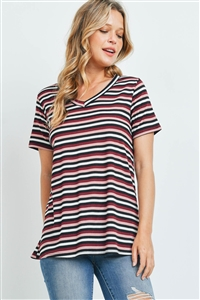 S16-11-3-PPT2329-BLSBUBK-1 - RIB DETAIL V-NECK STRIPES TOP- BLUSH/BURGUNDY/BLACK 0-2-2-1