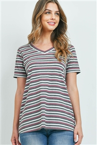 S16-11-3-PPT2329-HGMVCHL-1 - RIB DETAIL V-NECK STRIPES TOP- HEATHER GREY/MAUVE/CHARCOAL 0-2-2-2