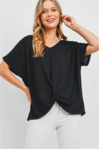 S16-10-1-PPT2332-BK-1 - V-NECK DOLMAN SLEEVES TWIST FRONT TOP- BLACK 0-1-2-2