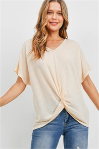 S16-7-2-PPT2332-CRM - V-NECK DOLMAN SLEEVES TWIST FRONT TOP- CREAM 1-2-2-2