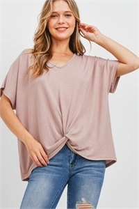 S16-6-5-PPT2332-DSTBLS - V-NECK DOLMAN SLEEVES TWIST FRONT TOP- DUSTY BLUSH 1-2-2-2