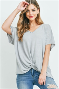 S16-10-1-PPT2332-STL-1 - V-NECK DOLMAN SLEEVES TWIST FRONT TOP- STEEL 0-1-2-1
