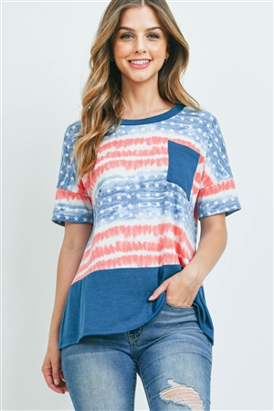 S10-7-1-PPT2336-NVCBTL - TIE DYE AMERICAN FLAG SOLID CONTRAST POCKET TOP- NAVY COMBO-TEAL 1-2-2-2