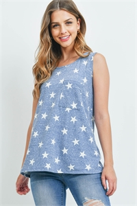 S15-11-1-PPT2337-NV - TRI-BLEND STAR PRINT POCKET TANK TOP- NAVY 1-2-2-2
