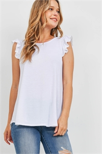 S11-8-1-PPT2345-BSSWT - TWO TONED CAP SLEEVES ROUND NECK TOP- BASS WHITE 1-2-2-2