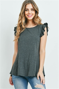 S12-1-3-PPT2345-CHL - TWO TONED CAP SLEEVES ROUND NECK TOP- CHARCOAL 1-2-2-2