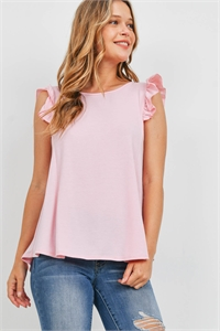 S15-8-1-PPT2345-DSTRS-1 - TWO TONED CAP SLEEVES ROUND NECK TOP- DUSTY ROSE 0-2-2-2