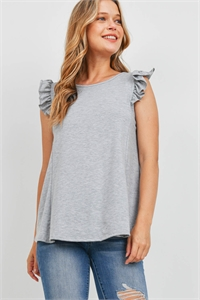 S15-8-1-PPT2345-HG-1 - TWO TONED CAP SLEEVES ROUND NECK TOP- HEATHER GREY 0-2-2-2