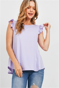 S15-8-1-PPT2345-LVDSL-1 - TWO TONED CAP SLEEVES ROUND NECK TOP- LAVENDER SAIL 0-2-2-0