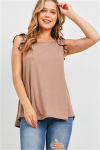 S12-1-3-PPT2345-MCNW - TWO TONED CAP SLEEVES ROUND NECK TOP- MOCHA NEW 1-2-2-2