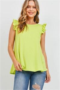 S15-8-1-PPT2345-VLM-1 - TWO TONED CAP SLEEVES ROUND NECK TOP- VINTAGE LIME 0-2-2-1