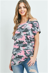 S9-20-2-PPT2351-BKGYHPK-1 - COLD SHOULDER SHORT SLEEVES CAMO TOP- BLACK/GREY/H. PINK 0-1-1-2