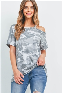 S9-20-2-PPT2351-GYTNTN-1 - COLD SHOULDER SHORT SLEEVES CAMO TOP- GREY/TONE/TONE 0-2-2-1