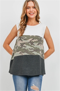 S16-6-1-PPT2357-OFWTMSCHL - CAMOUFLAGE SOLID RIB CONTRAST TANK TOP- OFF-WHITE/MOSS/CHARCOAL 1-2-2-2