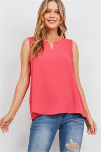 S11-12-3-PPT2360-FCH - NOTCH NECK SLEEVELESS WOVEN TOP- FUCHSIA 1-2-2-2