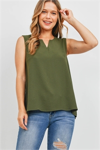 S8-14-2-PPT2360-OV-1 - NOTCH NECK SLEEVELESS WOVEN TOP- OLIVE 0-2-2-2