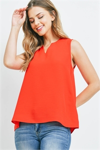 S11-11-4-PPT2360-RD - NOTCH NECK SLEEVELESS WOVEN TOP- RED 1-2-2-2