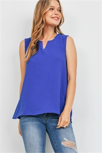 S8-14-2-PPT2360-RYL-1 - NOTCH NECK SLEEVELESS WOVEN TOP- ROYAL 0-2-2-2