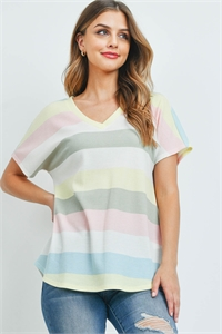 S10-15-3-PPT2365-YLWPK-1 - V-NECK MULTICOLOR STRIPES THERMAL TOP- YELLOW/PINK 0-2-2-2