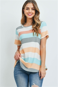 S16-7-5-PPT2366-GYMV - ROUND NECK MULTICOLOR STRIPES THERMAL TOP- GREY/MAUVE 1-2-2-2
