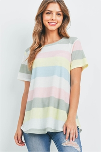 S10-15-3-PPT2366-YLWPK-1 - ROUND NECK MULTICOLOR STRIPES THERMAL TOP- YELLOW/PINK 0-2-2-0