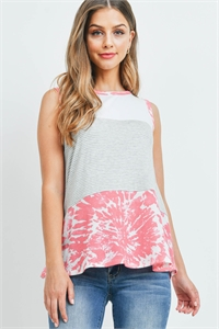 S10-15-3-PPT2383-HGIVHTPK-1 - STRIPES CONTRAST TIE DYE TANK TOP- HEATHER GREY/IVORY-HOT PINK 0-2-0-2