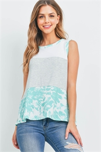 S10-15-3-PPT2383-HGIVMNT-1 - STRIPES CONTRAST TIE DYE TANK TOP- HEATHER GREY/IVORY-MINT 0-2-2-2