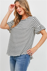 S16-6-1-PPT2400-BK - BELL SLEEVES ROUND NECK STRIPES TOP- BLACK 1-2-2-2