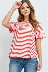 S16-1-2-PPT2400-RD - BELL SLEEVES ROUND NECK STRIPES TOP- RED 1-2-2-2